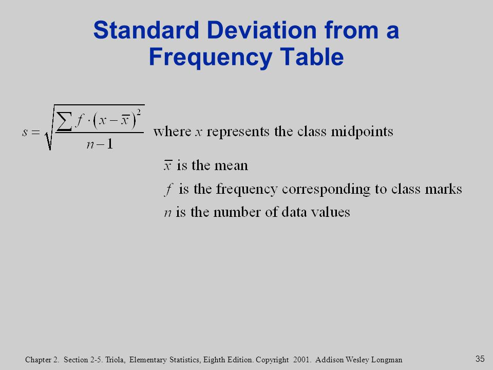 35 Chapter 2. Section 2-5. Triola, Elementary Statistics, Eighth Edition. Copyright 2001. Addison Wesley Longman Standard Deviation from a Frequency T