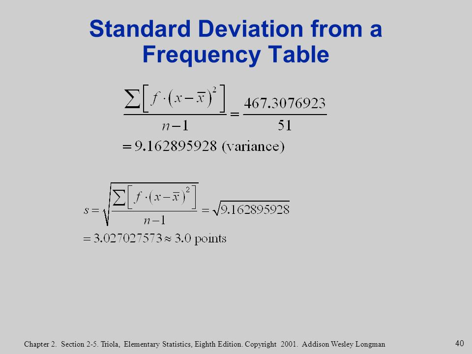 40 Chapter 2. Section 2-5. Triola, Elementary Statistics, Eighth Edition. Copyright 2001. Addison Wesley Longman Standard Deviation from a Frequency T