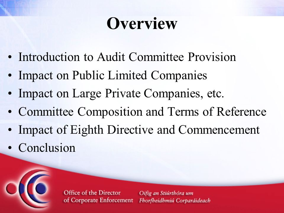 Introduction PAC's DIRT Inquiry Report led to recommendations on audit committees by the Auditing Review Group in 2000 Section 205B was inserted into the 1990 Act by Section 42 of the 2003 Act but is not yet commenced ODCE published Draft Guidance in April 2006 and asked for views on various matters for Ministerial decision ODCE published revised Guidance in November 2006 ODCE also made recommendations to Minister Ahern in November 2006 on the commencement of the provision