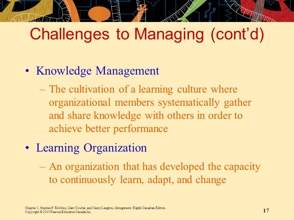 Chapter 1, Stephen P. Robbins, Mary Coulter, and Nancy Langton, Management, Eighth Canadian Edition. Copyright © 2005 Pearson Education Canada Inc. 17