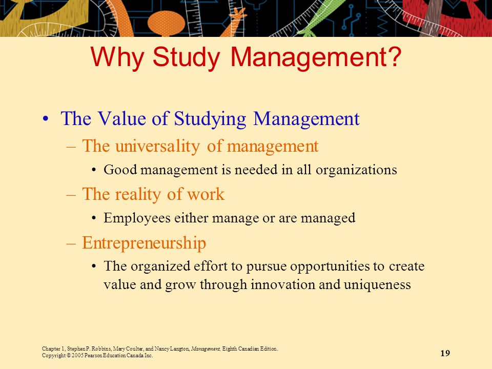 Chapter 1, Stephen P. Robbins, Mary Coulter, and Nancy Langton, Management, Eighth Canadian Edition. Copyright © 2005 Pearson Education Canada Inc. 19