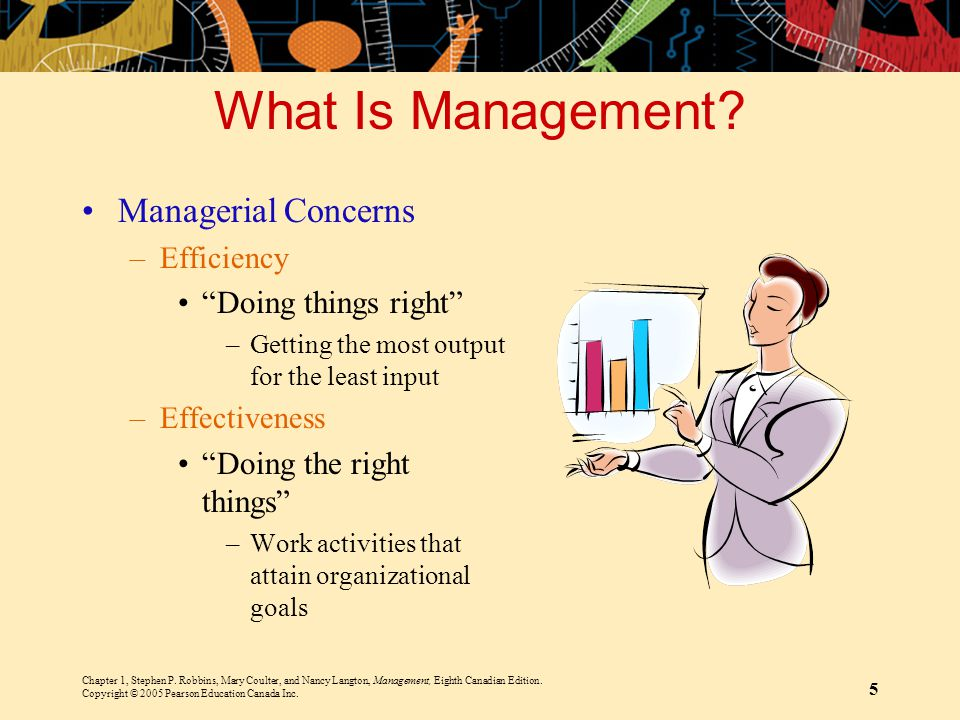 Chapter 1, Stephen P. Robbins, Mary Coulter, and Nancy Langton, Management, Eighth Canadian Edition. Copyright © 2005 Pearson Education Canada Inc. 5