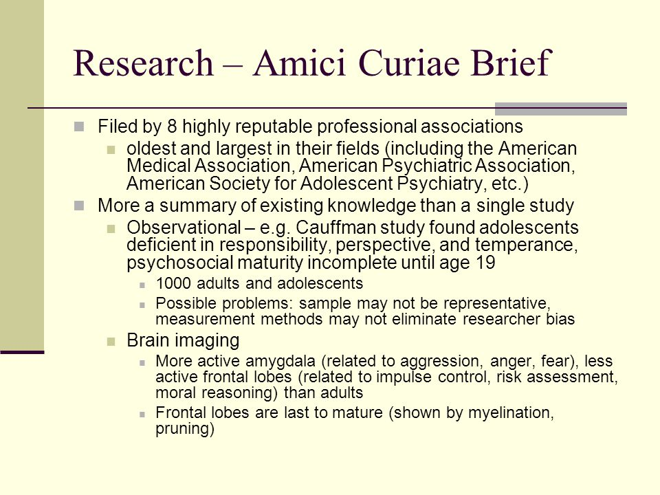 Research – Amici Curiae Brief Filed by 8 highly reputable professional associations oldest and largest in their fields (including the American Medical