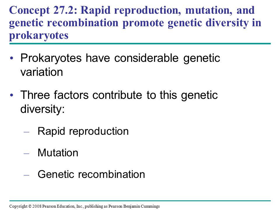 Copyright © 2008 Pearson Education, Inc., publishing as Pearson Benjamin Cummings Prokaryotes have considerable genetic variation Three factors contri