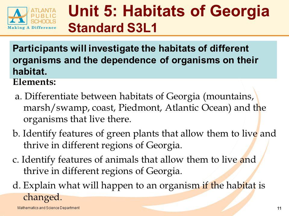 Mathematics and Science Department Unit 5: Habitats of Georgia Standard S3L1 Elements: a. Differentiate between habitats of Georgia (mountains, marsh/