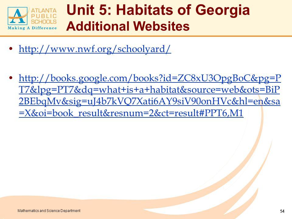 Mathematics and Science Department Unit 5: Habitats of Georgia Additional Websites http://www.nwf.org/schoolyard/ http://books.google.com/books?id=ZC8
