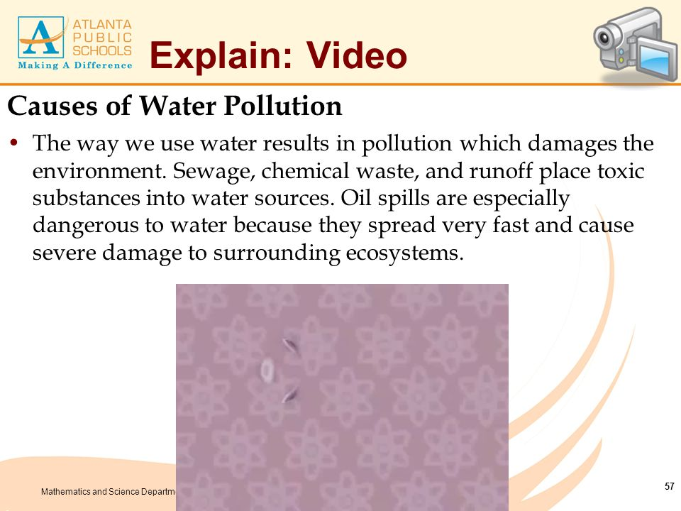 Mathematics and Science Department Explain: Video Causes of Water Pollution The way we use water results in pollution which damages the environment. S