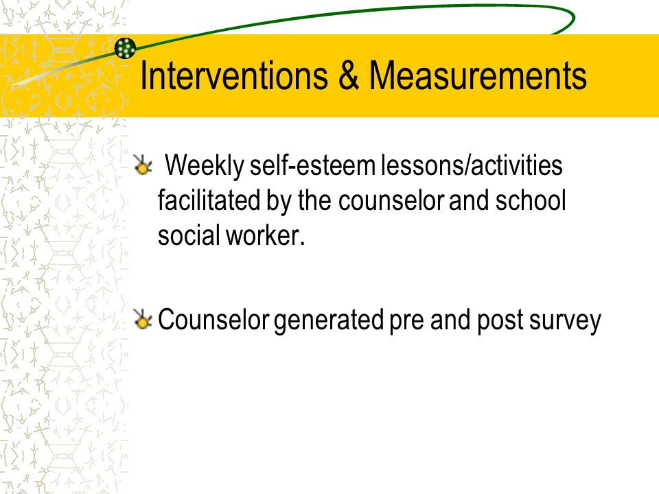 Interventions & Measurements Weekly self-esteem lessons/activities facilitated by the counselor and school social worker.