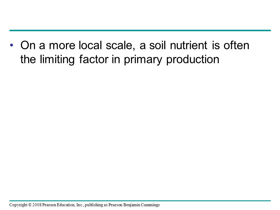 Copyright © 2008 Pearson Education, Inc., publishing as Pearson Benjamin Cummings On a more local scale, a soil nutrient is often the limiting factor