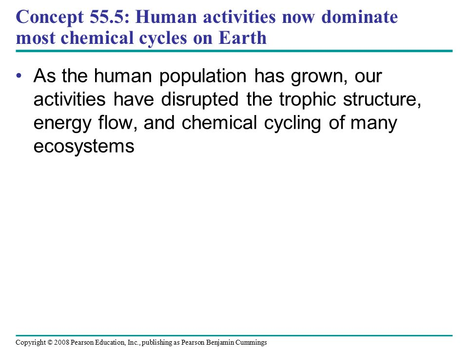 Copyright © 2008 Pearson Education, Inc., publishing as Pearson Benjamin Cummings Concept 55.5: Human activities now dominate most chemical cycles on