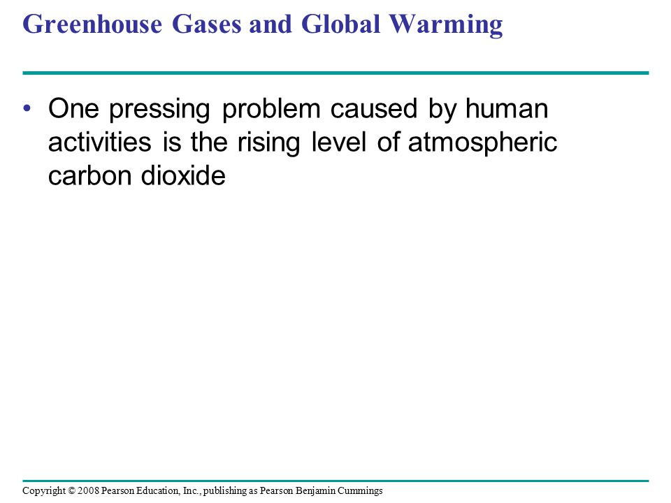 Copyright © 2008 Pearson Education, Inc., publishing as Pearson Benjamin Cummings Greenhouse Gases and Global Warming One pressing problem caused by h