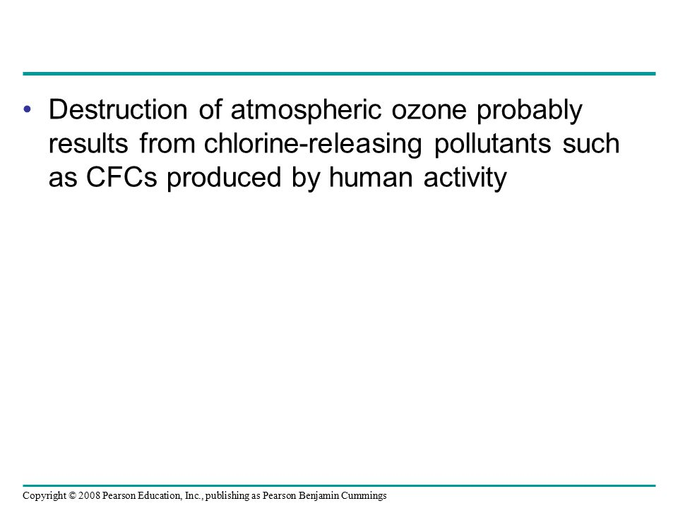 Copyright © 2008 Pearson Education, Inc., publishing as Pearson Benjamin Cummings Destruction of atmospheric ozone probably results from chlorine-rele