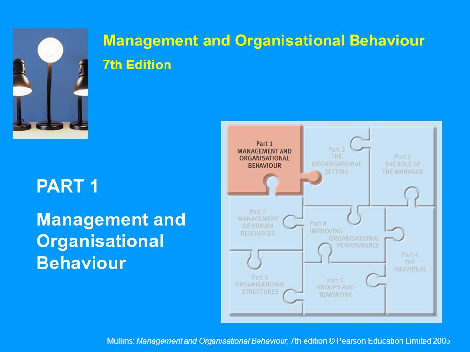 Mullins: Management and Organisational Behaviour, 7th edition © Pearson Education Limited 2005 Management and Organisational Behaviour 7th Edition PAR