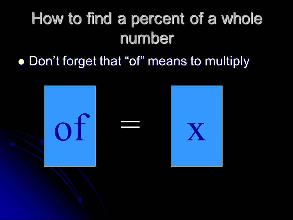 How to find the percent of a whole number.