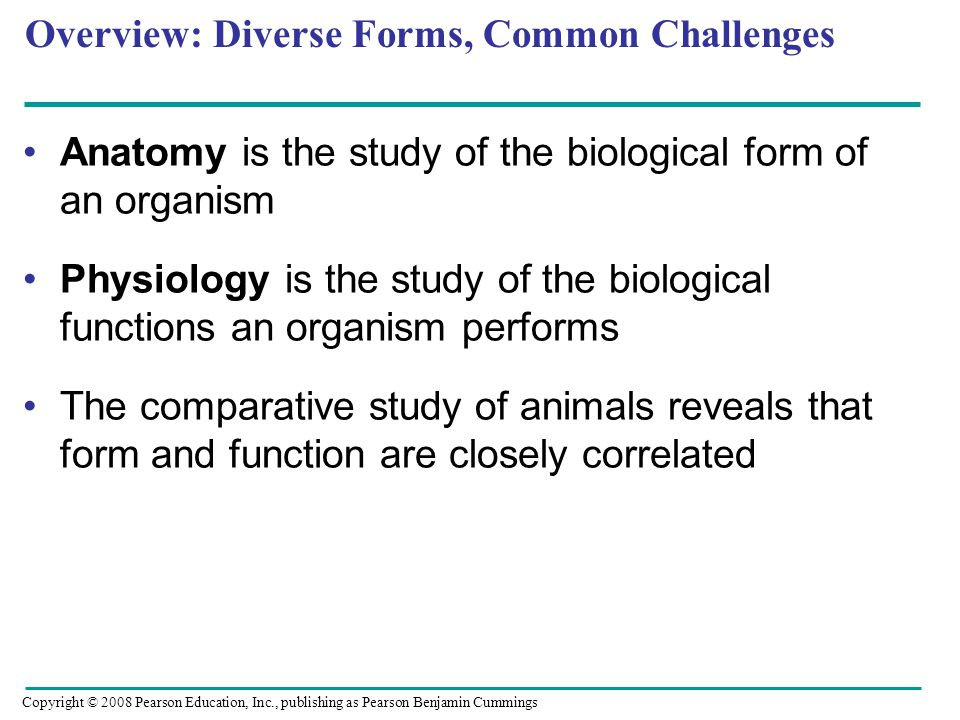 Overview: Diverse Forms, Common Challenges Anatomy is the study of the biological form of an organism Physiology is the study of the biological functions an organism performs The comparative study of animals reveals that form and function are closely correlated Copyright © 2008 Pearson Education, Inc., publishing as Pearson Benjamin Cummings