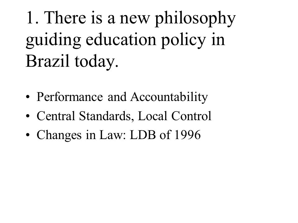 Synthesis of Findings Despite its importance in current educational thinking in Brazil, school-based management does not appear to have a significant effect on the interstate variance of academic achievement.