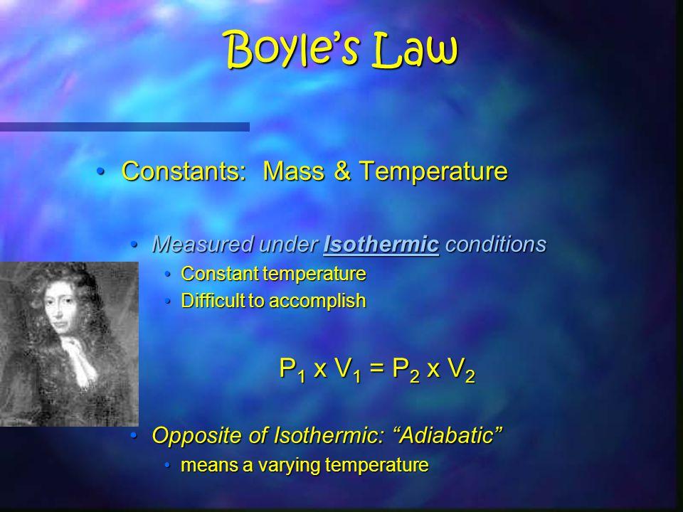 Boyle's Law Constants: Mass & TemperatureConstants: Mass & Temperature Measured under Isothermic conditionsMeasured under Isothermic conditions Constant temperatureConstant temperature Difficult to accomplishDifficult to accomplish P 1 x V 1 = P 2 x V 2 Opposite of Isothermic: Adiabatic Opposite of Isothermic: Adiabatic means a varying temperaturemeans a varying temperature