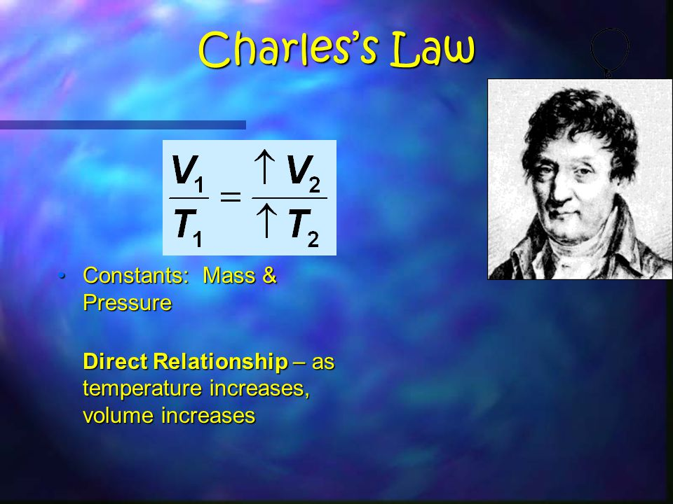 Charles's Law Constants: Mass & PressureConstants: Mass & Pressure Direct Relationship – as temperature increases, volume increases