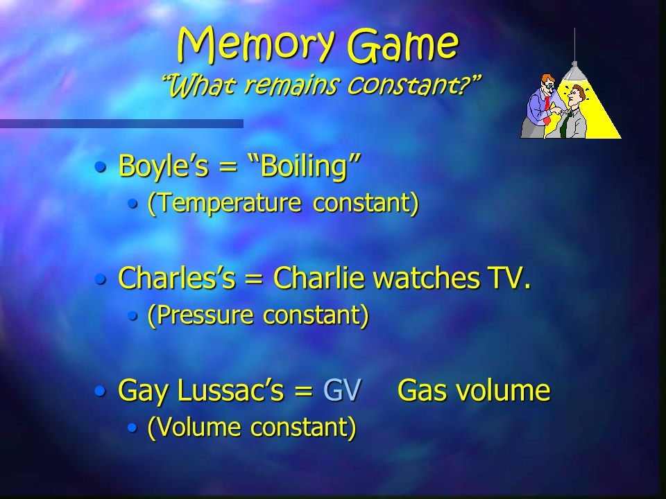 Memory Game What remains constant Boyle's = Boiling Boyle's = Boiling (Temperature constant)(Temperature constant) Charles's = Charlie watches TV.Charles's = Charlie watches TV.