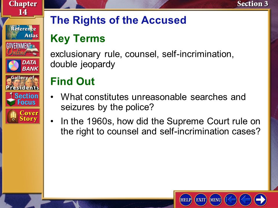 Section 3 Introduction-2 The Rights of the Accused Understanding Concepts Civil Rights How have Supreme Court rulings both expanded and refined the rights of the accused as described in the Constitution.