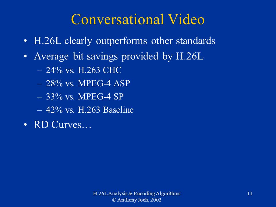 H.26L Analysis & Encoding Algorithms © Anthony Joch, 2002 11 Conversational Video H.26L clearly outperforms other standards Average bit savings provid