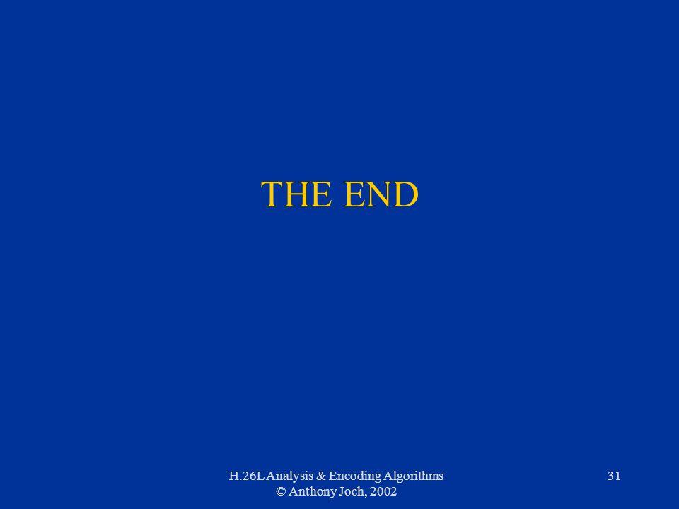 H.26L Analysis & Encoding Algorithms © Anthony Joch, 2002 31 THE END