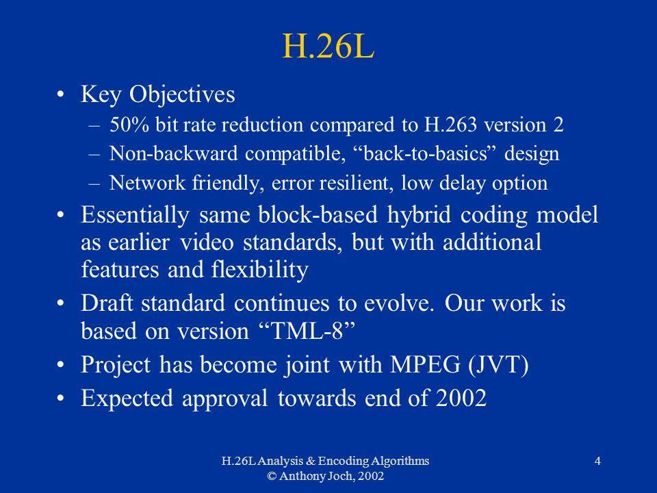 H.26L Analysis & Encoding Algorithms © Anthony Joch, 2002 4 H.26L Key Objectives –50% bit rate reduction compared to H.263 version 2 –Non-backward com