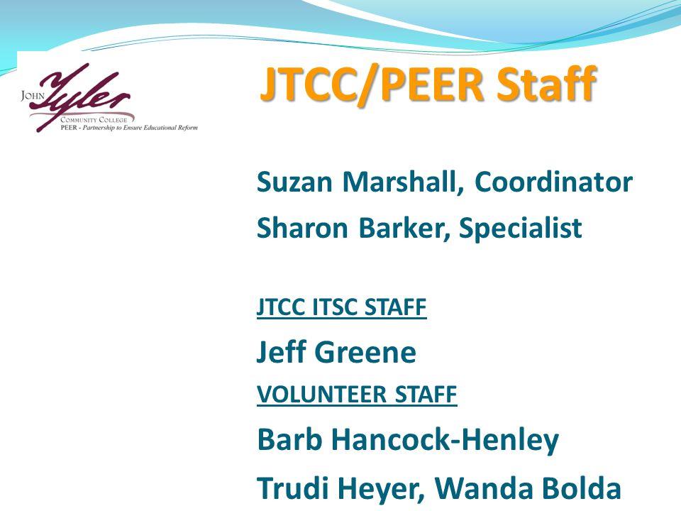 JTCC/PEER Staff Suzan Marshall, Coordinator Sharon Barker, Specialist JTCC ITSC STAFF Jeff Greene VOLUNTEER STAFF Barb Hancock-Henley Trudi Heyer, Wanda Bolda