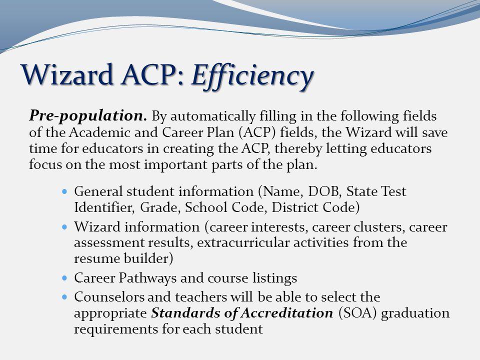Wizard ACP: Efficiency Pre-population.