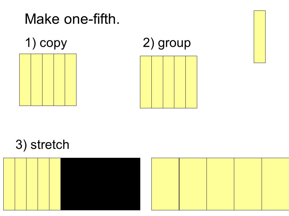 Make one-fifth. 1) copy2) group 3) stretch