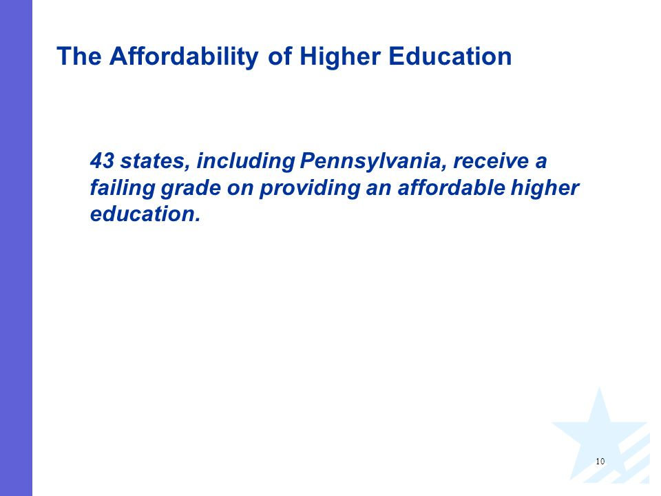 10 The Affordability of Higher Education 43 states, including Pennsylvania, receive a failing grade on providing an affordable higher education.