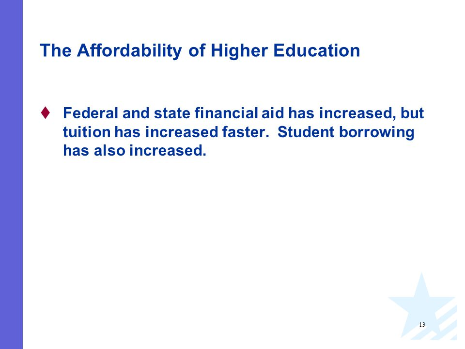 13 The Affordability of Higher Education  Federal and state financial aid has increased, but tuition has increased faster.