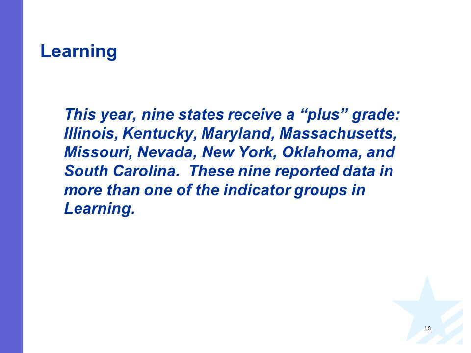 18 Learning This year, nine states receive a plus grade: Illinois, Kentucky, Maryland, Massachusetts, Missouri, Nevada, New York, Oklahoma, and South Carolina.