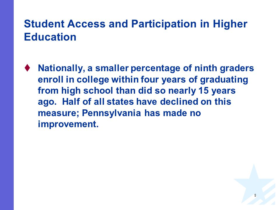 8 Student Access and Participation in Higher Education  Nationally, a smaller percentage of ninth graders enroll in college within four years of graduating from high school than did so nearly 15 years ago.