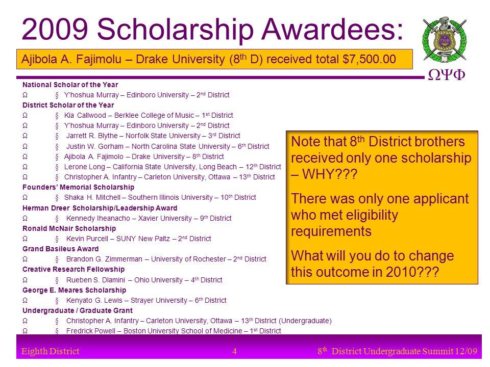  Eighth District 2009 Scholarship Awardees: National Scholar of the Year  § Y'hoshua Murray – Edinboro University – 2 nd District District Scholar