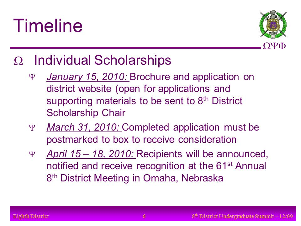  Eighth District Timeline  Individual Scholarships  January 15, 2010: Brochure and application on district website (open for applications and supporting materials to be sent to 8 th District Scholarship Chair  March 31, 2010: Completed application must be postmarked to box to receive consideration  April 15 – 18, 2010: Recipients will be announced, notified and receive recognition at the 61 st Annual 8 th District Meeting in Omaha, Nebraska 68 th District Undergraduate Summit – 12/09