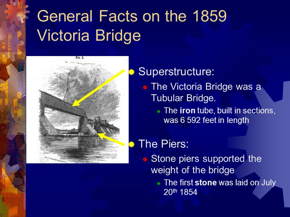 General Facts on the 1859 Victoria Bridge  Superstructure:  The Victoria Bridge was a Tubular Bridge.