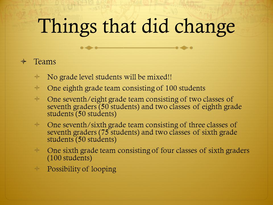 Things that did change  Teams  No grade level students will be mixed!.