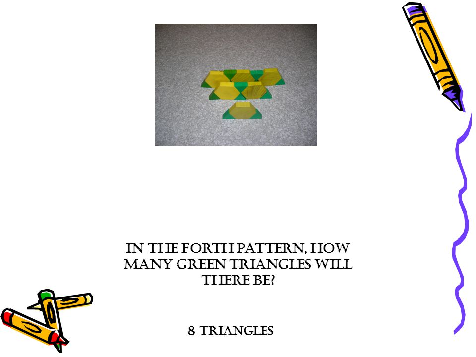 In the forth pattern, how many green triangles will there be? 8 triangles