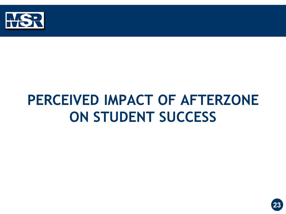 23 PERCEIVED IMPACT OF AFTERZONE ON STUDENT SUCCESS