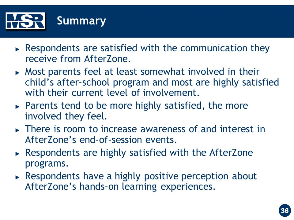 36 Summary Respondents are satisfied with the communication they receive from AfterZone.