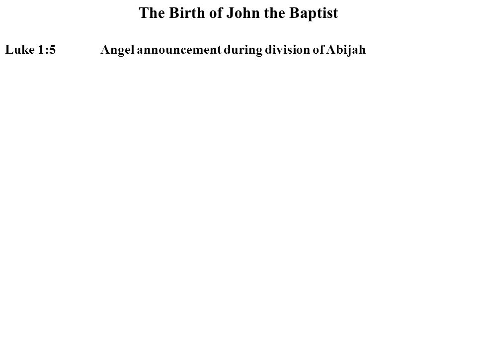 The Birth of John the Baptist Luke 1:5Angel announcement during division of Abijah