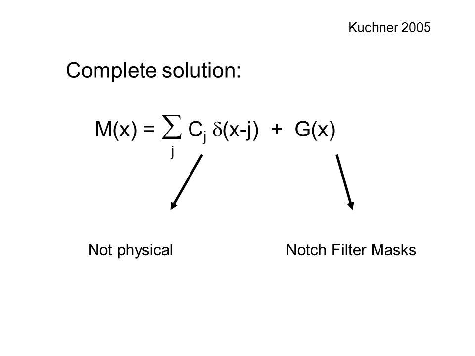 Complete solution: M(x) =  C j  (x-j) + G(x) Notch Filter MasksNot physical Kuchner 2005 j