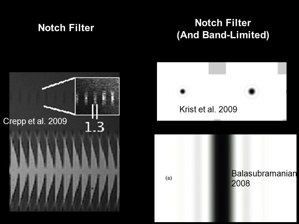 Crepp et al. 2009 Balasubramanian 2008 Notch Filter (And Band-Limited) Krist et al. 2009