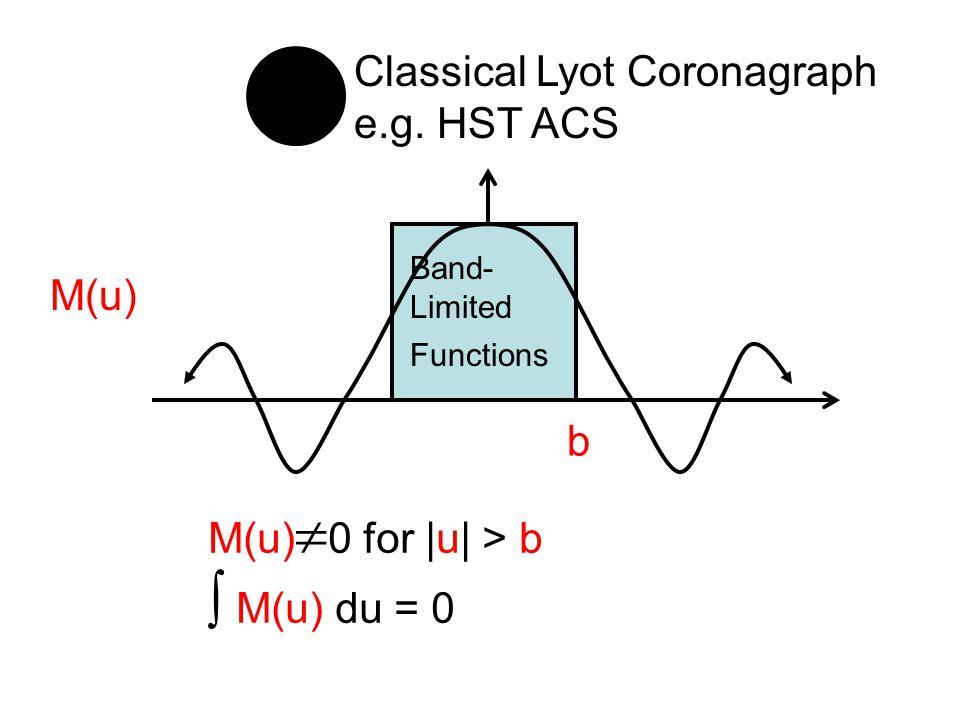 b M(u) M(u)  0 for |u| > b  M(u) du = 0 Classical Lyot Coronagraph e.g.