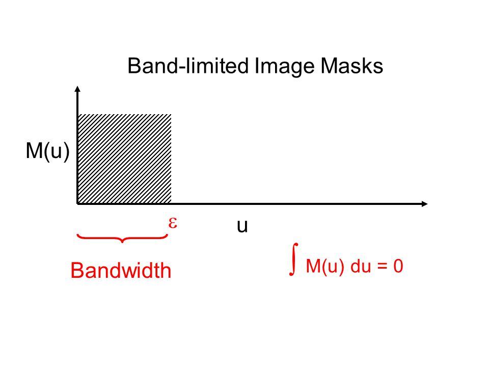 Band-limited Image Masks  u M(u) Bandwidth  M(u) du = 0