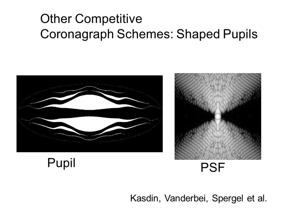 Other Competitive Coronagraph Schemes: Shaped Pupils Pupil PSF Kasdin, Vanderbei, Spergel et al.