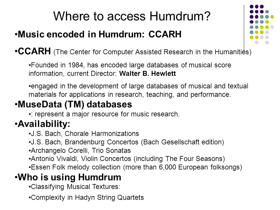 Where to access Humdrum.