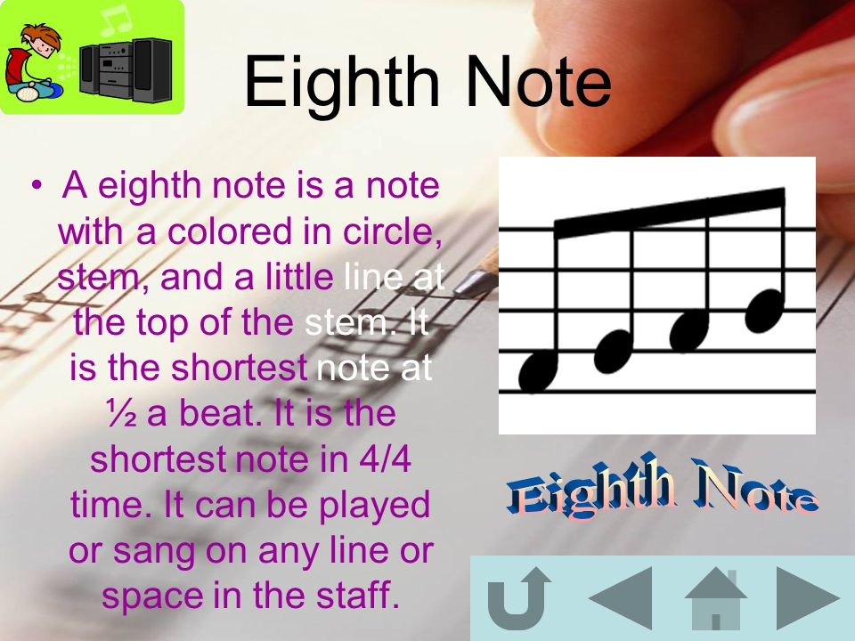 Quarter Note A quarter note is a note with a colored in circle and a stem.