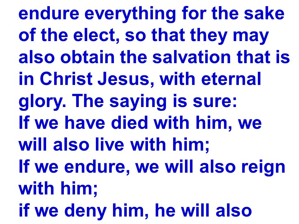 endure everything for the sake of the elect, so that they may also obtain the salvation that is in Christ Jesus, with eternal glory.